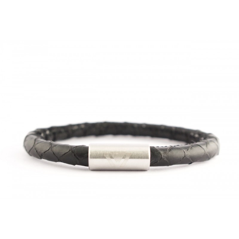 Black Python Bracelet with Matte Stainless Steel Clasp