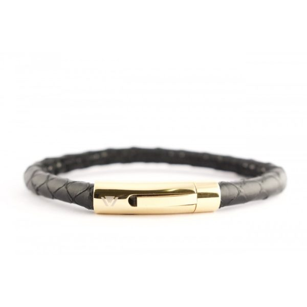 Black Python Bracelet with 18kt Gold Clasp