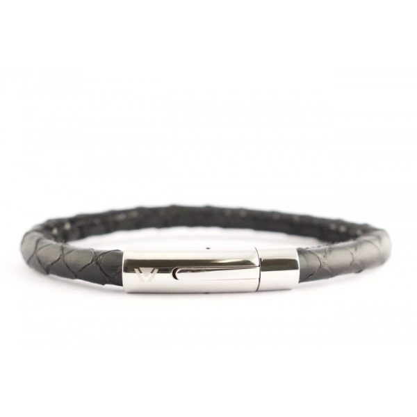 Black Python Bracelet with Stainless Steel Clasp