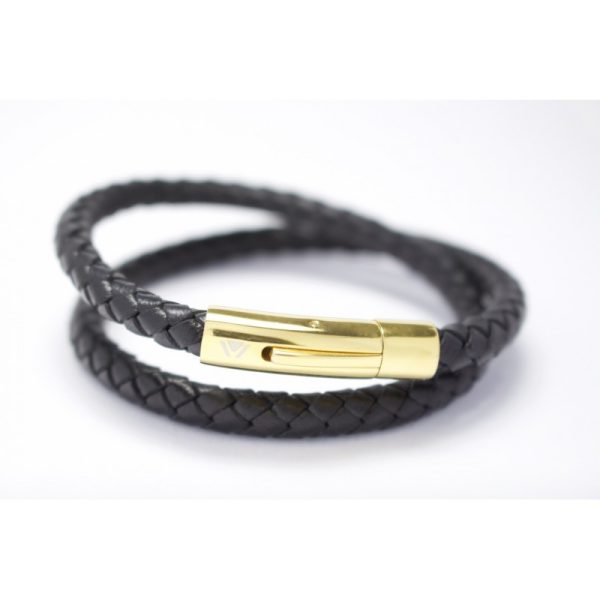 Black Double wrap bracelet with 18kt gold Clasp