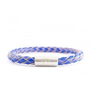 Ocean Blue 6mm Braided Leather Bracelet with Magnet Clasp
