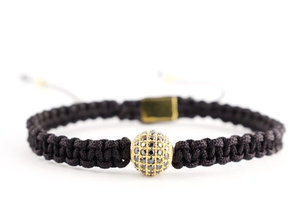 black shamballa 18kt yellow gold