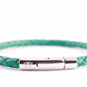 green braided leather stainless steel