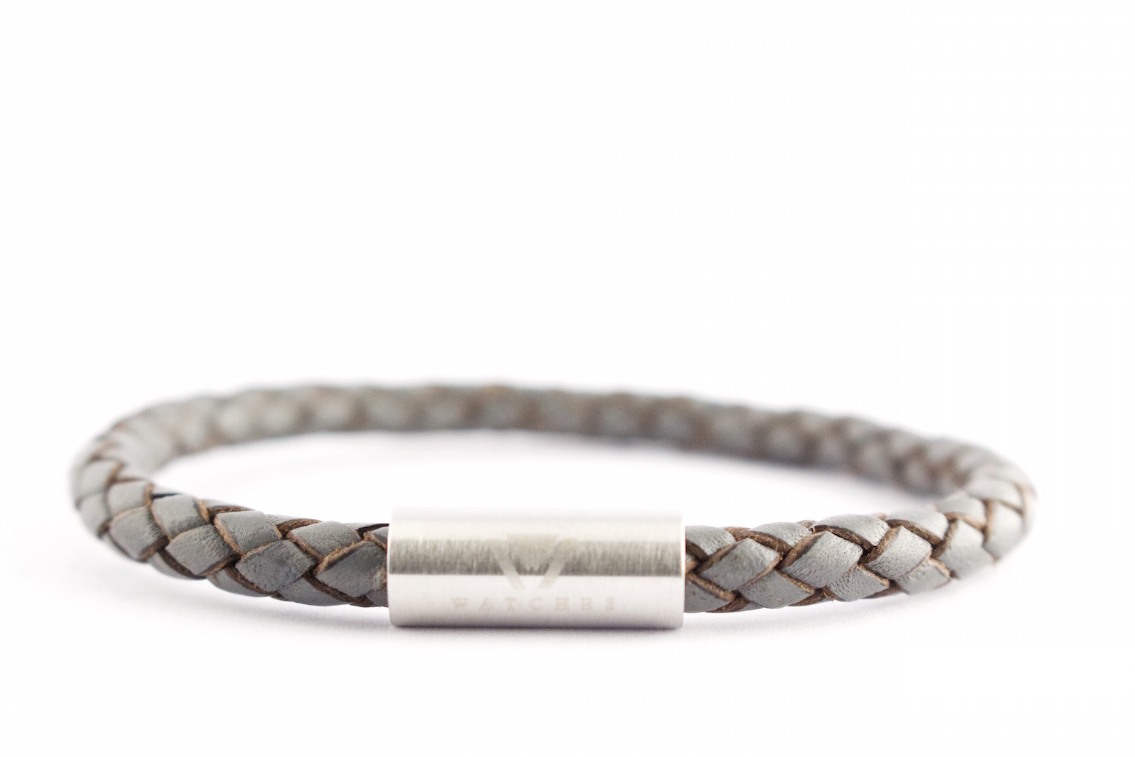 grey braided leather stainless steel