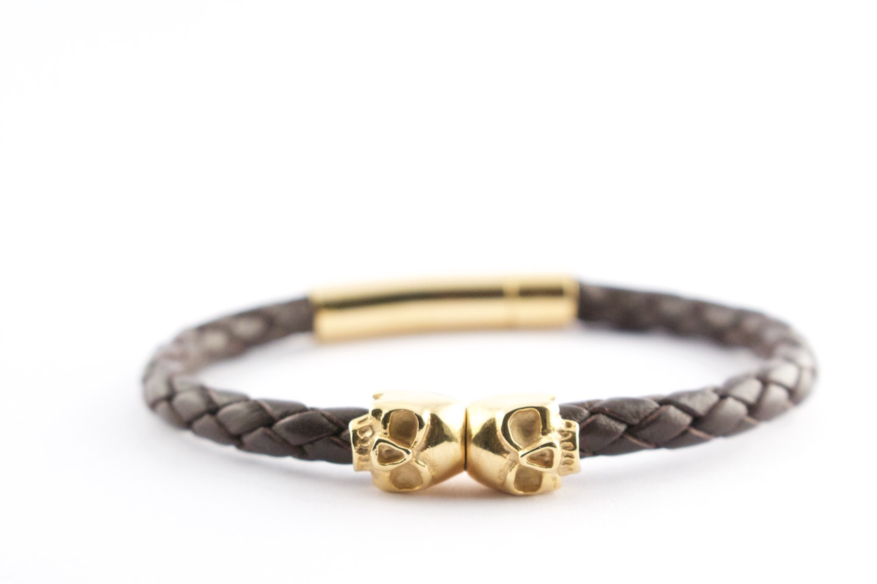 brown leather skull bracelet gold
