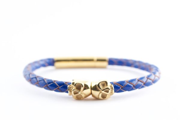 blue leather twin skull bracelet