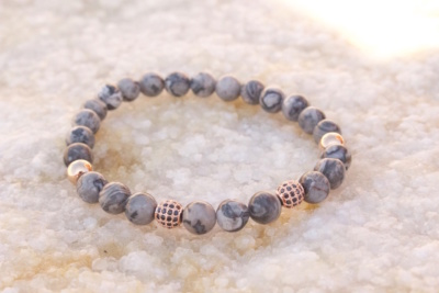 18kt Rose Gold Grey Jasper Bead Bracelet II