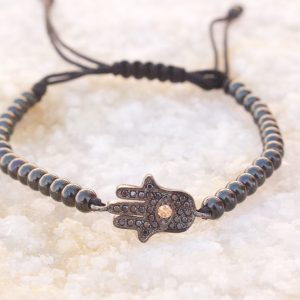 Gunmetal Hamsa Macrame Bracelet