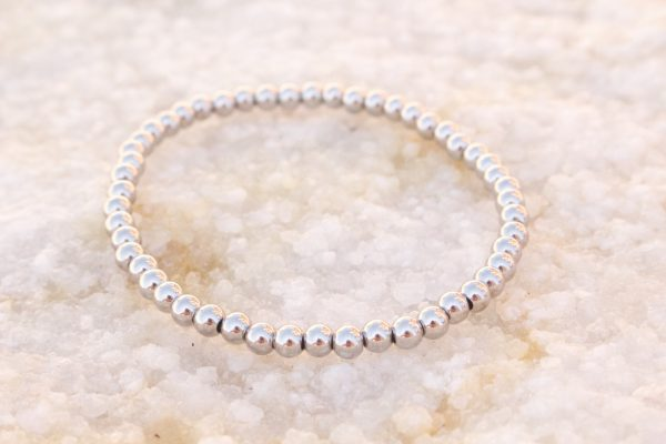 5mm White Gold Beaded Bracelet