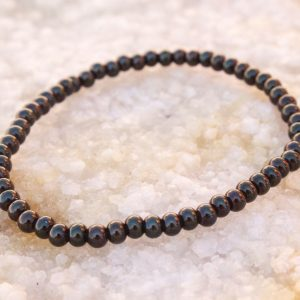 5mm Gunmetal Beaded Bracelet