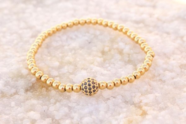 18kt Yellow Gold Shamballa Bead Bracelet