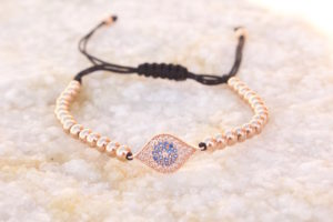 18kt Rose Gold Evil Eye Macrame Bracelet