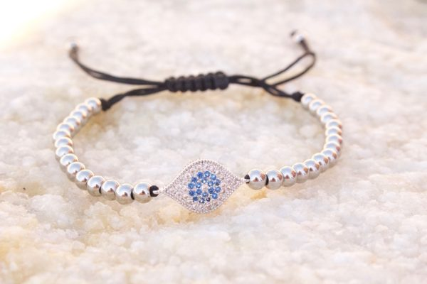 White Gold Evil Eye Macrame Bracelet