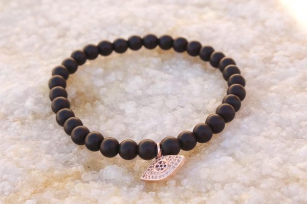 18kt Rose Gold Evil Eye Charm Bracelet