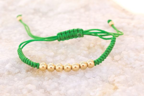 18kt Yellow Gold Green Micro Macrame Bracelet