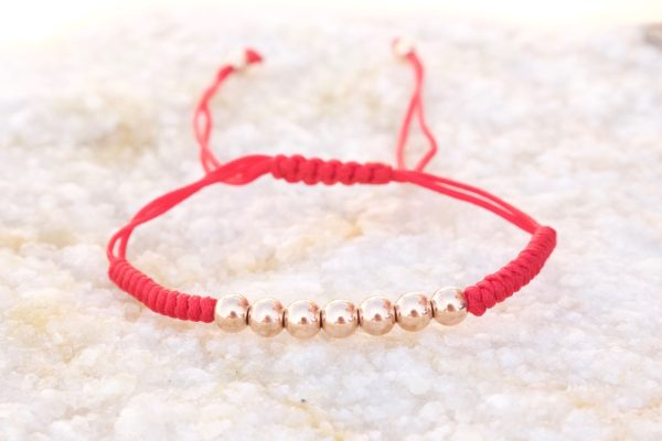 18kt Rose Gold Red Micro Macrame Bracelet