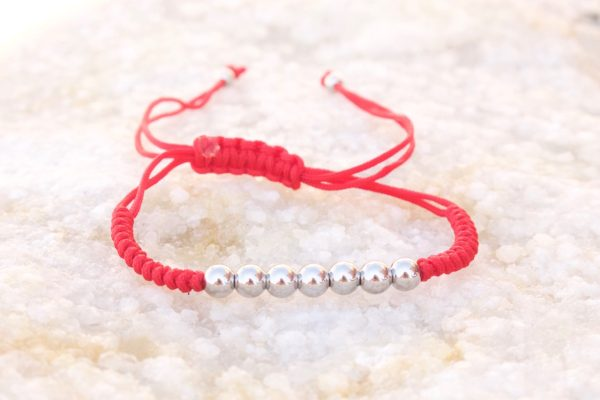 White Gold Red Micro Macrame Bracelet