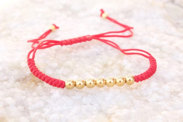 18kt Yellow Gold Red Micro Macrame Bracelet
