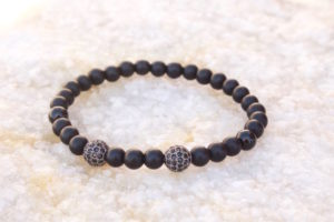 Gunmetal Black Beaded Bracelet II
