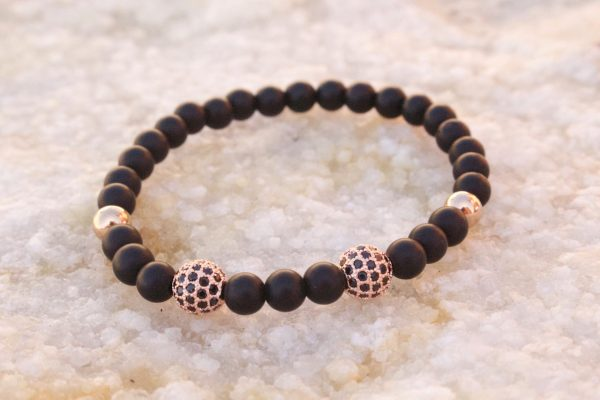 18kt Rose Gold Black Beaded Bracelet II
