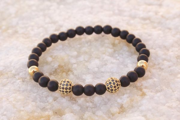 18kt Yellow Gold Black Beaded Bracelet II