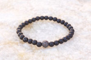 Gunmetal Black Beaded Bracelet