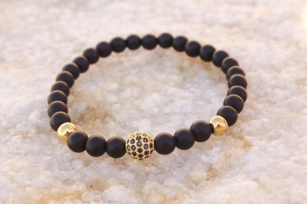 18kt Yellow Gold Black Beaded Bracelet