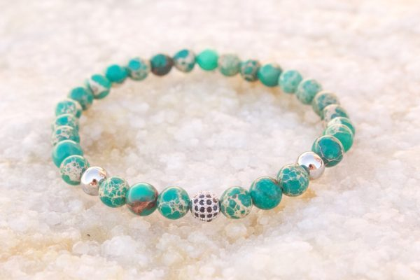 White Gold Green Sediment Jasper Bead Bracelet