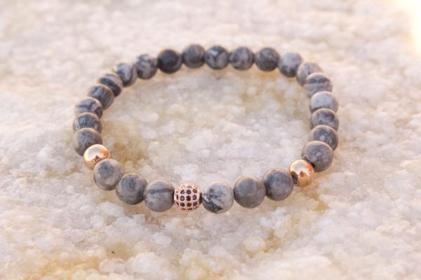 18kt Rose Gold Grey Jasper Bead Bracelet