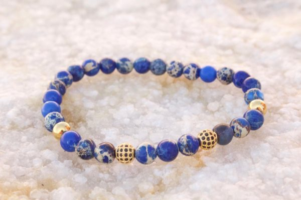 18kt Yellow Gold Blue Sediment Bead Bracelet II